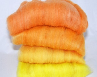 Polwarth/Silk Orange to Yellow Spinning Batts - 4 ounces