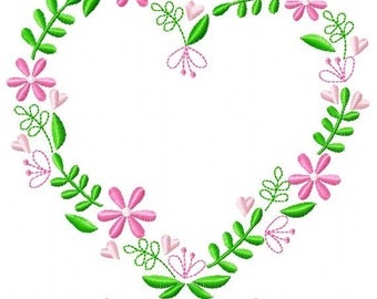 Heart Flower Machine Embroidery Design
