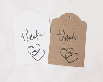 THANK YOU tags, gift tags, wedding tags, engagement thank you tags, THANK you favour bag tags X 10