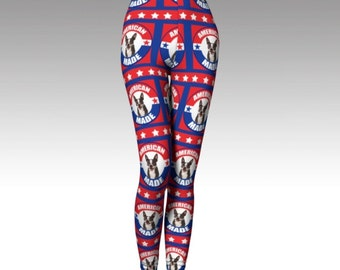 Patriotic Boston Terrier Leggings