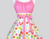 Womens Flirty Chic Apron - Confetti Pink Polka Dots Retro Vintage Style Pin Up Kitchen Apron with Pockets Makes Great Birthday Gift for Her