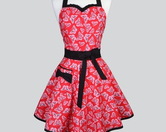 Sweetheart Womens Retro Apron - Cute and Flirty Red and Black Butterflies Vintage Style Pin Up Kitchen Woman Apron