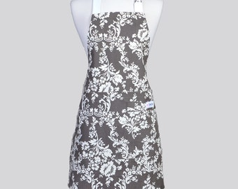 Retro Chef Apron - Dark Grey and White Damask Washable Cotton Canvas with Adjustable Neck Full Kitchen Aprons