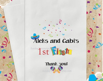 12 Pak FIESTA Party Favor Bags / Candy Goody Treat Bag / Birthday Baby Shower Wedding Quincenera 15  PERSONALIZED  / 3 Day Ship