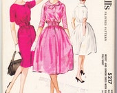 Vintage 1959 McCall's 5217 UNCUT Sewing Pattern Misses Dress with Slim or Full Skirt Dresses Size 16 Bust 36