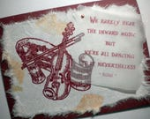 INWARD MUSIC ~ Mixed media collage greeting card, quote by Rumi