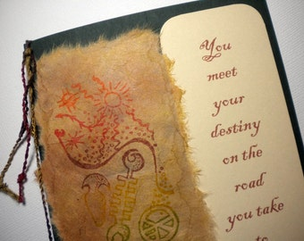 DESTINY'S ROAD ~ Mixed media collage greeting card with bookmark, quote by Carl Jung
