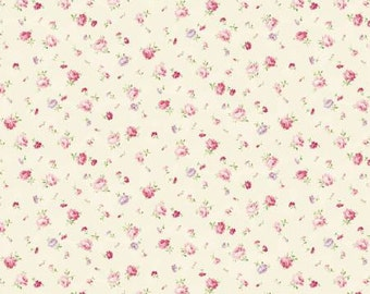Ruru Bouquet Love Rose Love Cotton Fabric Rose ru2300-16a  Small  Roses on cream