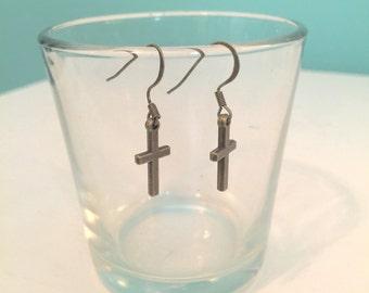 Antique Brass Cross Small Dangle Earrings