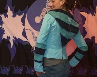 Baby blue corduroy  jacket hoodie blazer upcycled ooak funky unique