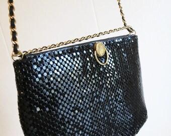 SALE Vintage 80's Black Metal Mesh Chain Mail Handbag