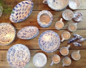 "Bybee Collection ""BB"" Kentucky Blue Sponge Ware Collection of Pottery - 29 Piece Collection Lot - Bowls, Serving, Mugs, Ducks"