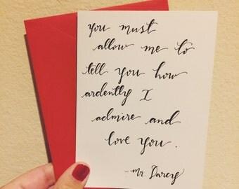 Pride and Prejudice Greeting Card - Jane Austen - Mr. Darcy - Love Letters -Handmade-Modern Calligraphy - Wedding Card - Anniversary Card
