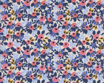 Cotton + Steel - Rifle Paper Co. - Les Fleurs - Rosa in Periwinkle
