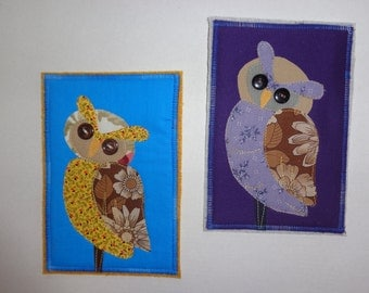 Fabric Post Cards - Owls - Mail Art Card