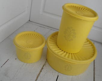 Vintage Tupperware Servalier Canisters Yellow Set of 3