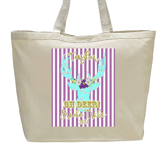 Bridesmaid Tote, Bridesmaid Bags, Bridesmaid Gifts, Large Canvas Totebag, Bride Tribe Bags, Fun colorful deer Graphic, wedding party gifts