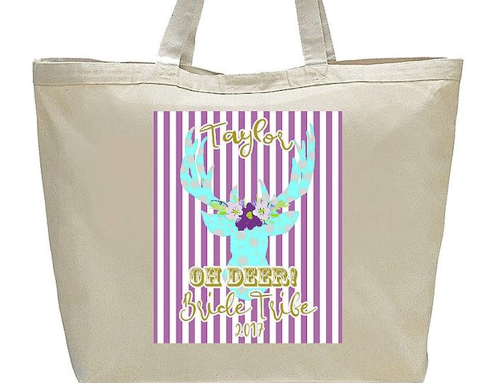 Bridesmaid Tote, Bridesmaid Bags, Bridesmaid Gifts, Large Canvas Totebag, Bride Tribe Bags, Fun colorful deer Graphic, wedding party gifts