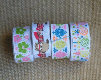 SALE LOT #58, 20 yards grosgain ribbon, Hibiscus, Puppy, Damask, Lollipops