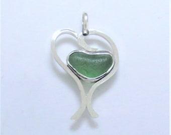Sea Glass Jewelry - Sterling Green Sea Glass Heart Pendant