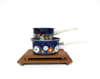 Vintage Enamelware Flowers on Cobalt Blue  Butter Warmer or Sauce Pan