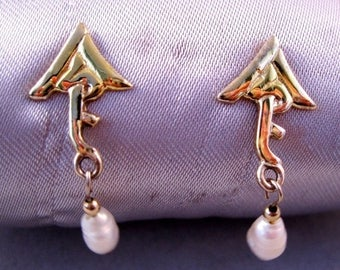 SALE Now On Ends 4/3/17 Chinese Symbol Pearl Earrings Sterling Gold Stud Dangle Pierced 1980s Vintage Jewelry Jewellery
