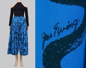 Vintage 80s Culottes | GENE EWING Cotton Pants | Black Artsy Graphic | Elastic Waist Harem Pants | Cropped Pants | Wide Leg Pants | Medium M