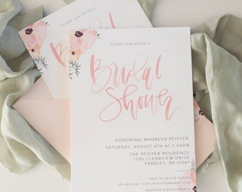 Blush Floral Bridal Shower Calligraphy Invitation