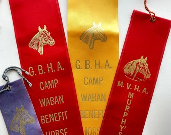 4 Vintage Horse Show Ribbons