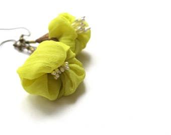 Silk flower earrings in bright lime green