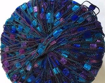 "Di.Ve Scaletta Mini Ladder Ribbon Yarn #38159 Turquoise, Blues, Purples - 25 Gram 65 Yards 3/16"" Width"