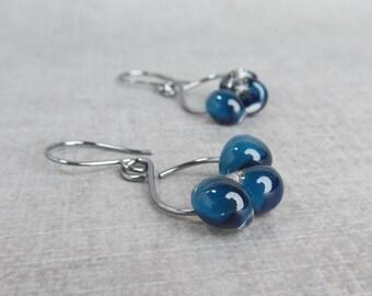 Navy Blue Dangle Earrings, Lampwork Earrings Blue, Dark Blue Earrings, Blue Glass Drop Earrings, Oxidized Wire Earrings, Sterling Silver