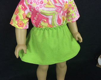 18 Inch Doll Outfit 4 Piece Doll Outfit Floral Shirt Floral Jeans Lime Green Skirt Mix or Match Doll Outfit Made to Fit Like American Girl