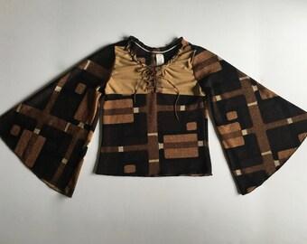Vintage Girl's 70's Boho, Bell Sleeve Shirt, Brown, Tan, Geometric, Boho Top (Size 10)