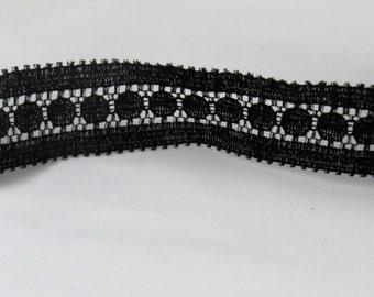 Vintage Cotton Poly  Lace Trim Black  3 YARDS