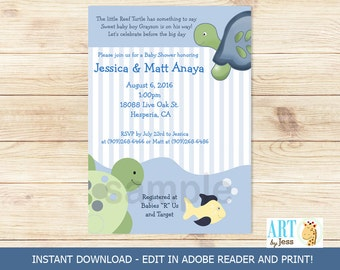 Turtle Reef Turtles Baby Shower Invitatons Print your Own Pdf File EDITABLE TEXT Instant Download bs-108