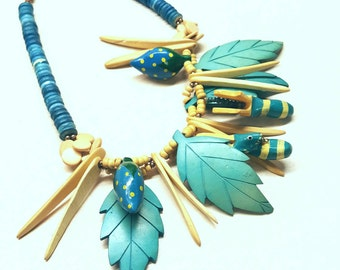 WOW Chunky Beaded 80s Jungle Necklace