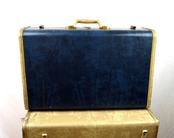 Vintage Blue 1940s 40s Samsonite Luggage Suitcase