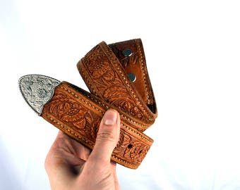 Vintage Floral Tooled Leather Belt - Size 34 - Sal's Custom Saddles