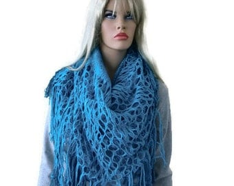 Peacock blue infinity scarf with fringes -Bohemian  scarf- Dual wear-Straight long or infinity - Ultra soft