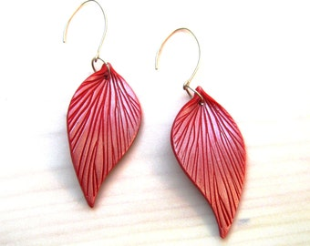 Pomegrante Red Leaf Earrings, Sterling Silver, Handcrafted Ear Wires, 3 Inches Long, Lightweight Feather Earrings, Blue and Silver