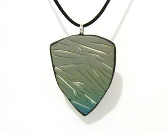Grey Green to Teal Carved Shield Pendant with White Underlay - Triangle Shape - Black Satin Cord Necklace - Polymer Clay - One of a Kind
