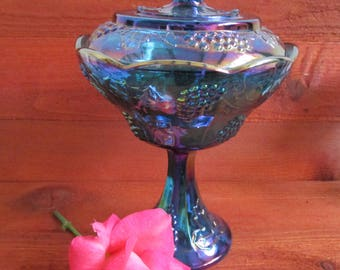 Vintage Indiana Glass Iridescent Blue Carnival Glass Harvest Grape Pattern Footed Compote Candy Dish