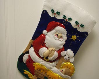 "Bucilla Felted Completed 15"" SANTA & CHRIST CHILD Christmas Stocking"
