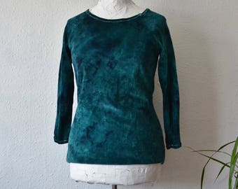 Teal sweater organic velvet green blue eco friendly sustainable womens dark fashion grunge cotton yoga hippie ethical jumper clothing tunic