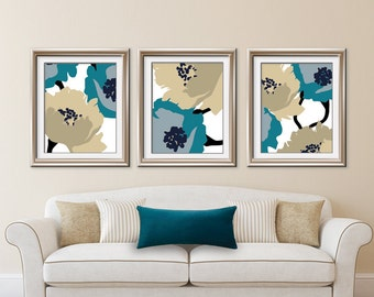 Blooming Garden (Series A) Set of 3 - Art Prints (Featured in (Biscay Bay and Khaki color scheme) Botanical Art Print / Poster
