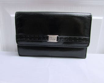 Vintage Pelle Studio Wilsons Leather Black Genuine Leather Wallet Clutch Purse, Currency Ids Credit Cards Coin Compartments