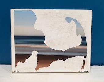 Cape Cod Map, Brown and Blue, Ocean, Beach, Seascape, Water, 8x10, Wall Art