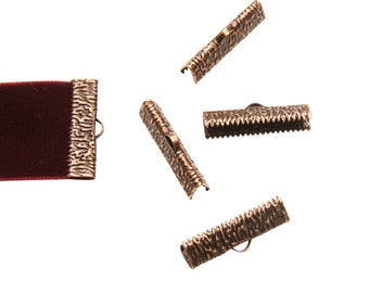 16 pieces  25mm  (1 inch)  Antique Copper Ribbon Clamp End Crimps - Artisan Series