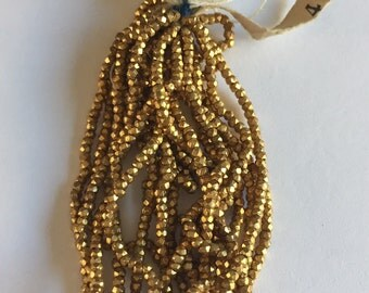 RARE - Antique Metal Cut Micro Beads - GOLD